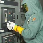 Arc flash worker (courtesy of Schneider Electric)